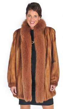 mink jacket golden dyed-golden fox fur trim