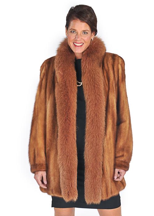 mink jacket golden dyed-golden fox fur trim