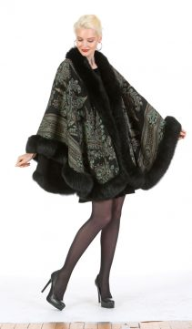 cashmere cape with real fur trim