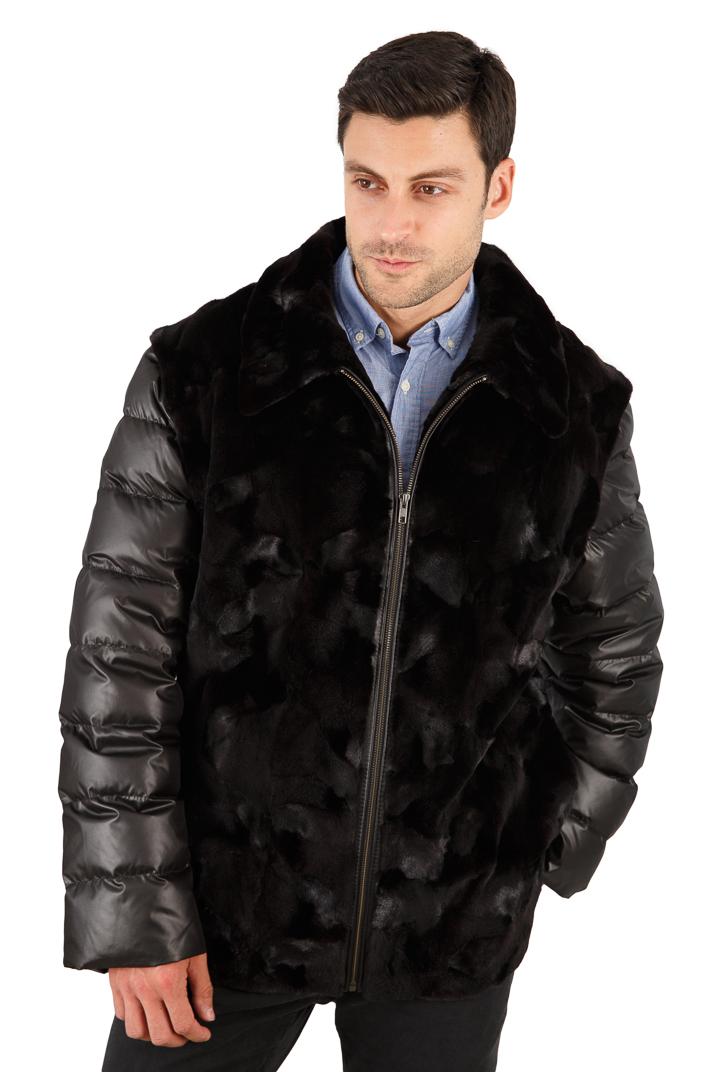 Men's Sculptured Mink Jacket - Quilted Sleeves - Convertible Men's Vest