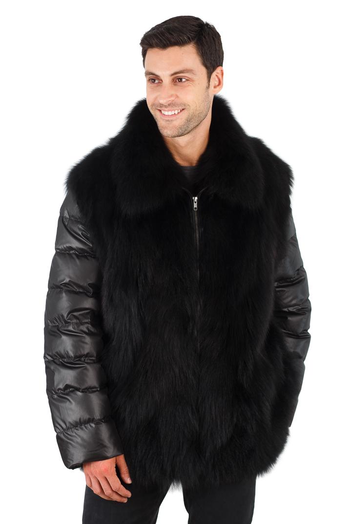 Mens Black Fox Jacket - Quilted Sleeves - Mens Black Fox Vest