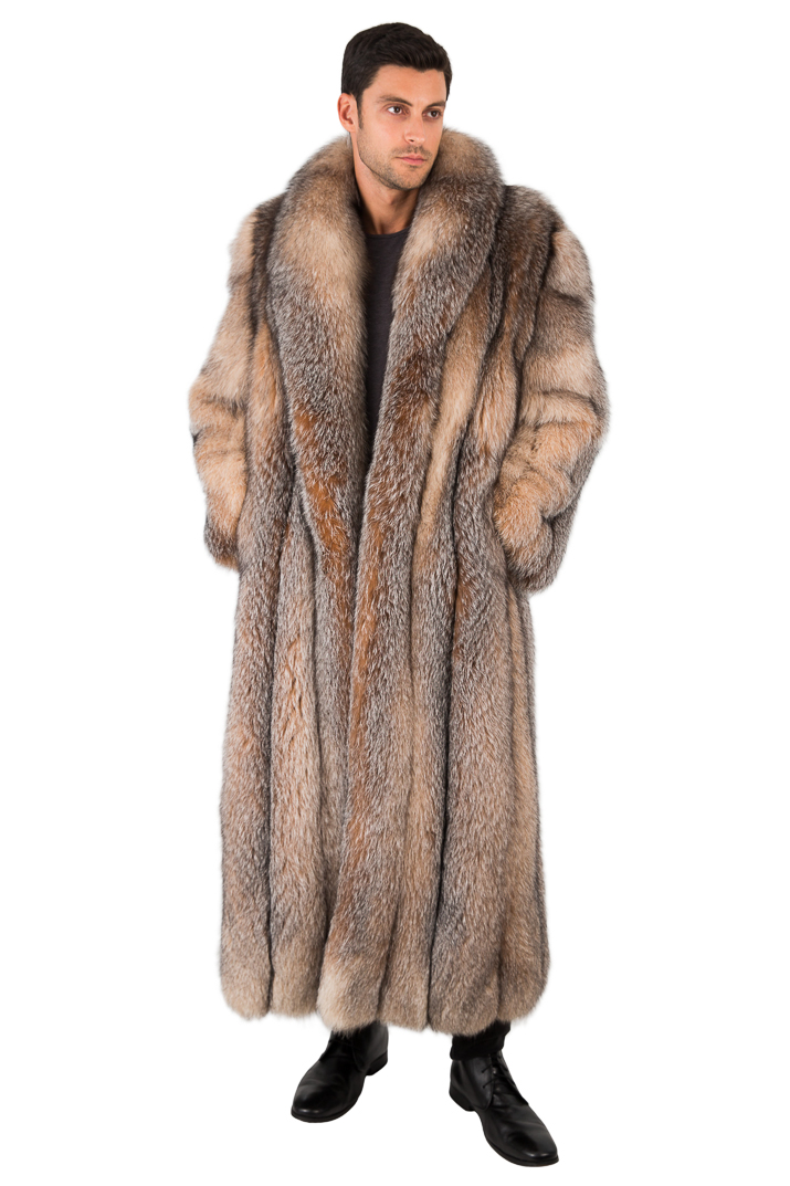 Long Crystal Fox Fur Coat for Men Full Length Genuine Fur Overcoat ...