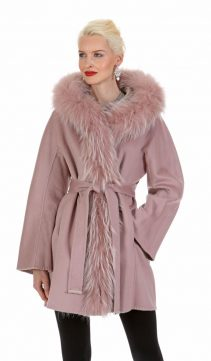 guy laroche women jacket-fur trimmed coat-pink-hazy