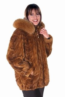 genuine real mink jacket hooded parka-fox fur trimmed