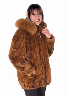 Hooded Fur Mink Parka – Fox Trimmed | Madison Avenue Mall Furs ...