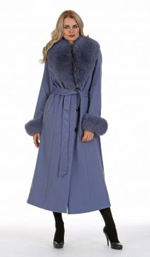 genuine cashmere coat-lavender blue-long