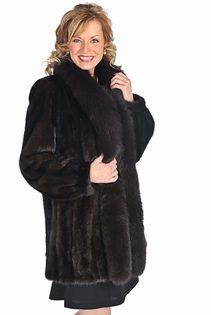 mink fur jacket with fox trim-mahogany mink-dark brown coat