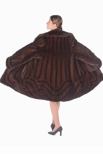 genuine real mink jacket-mahogany mink jacket-wave design