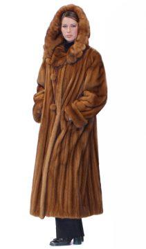 mink coat with hood-golden mink hooded coat