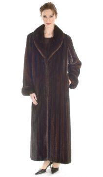 mink coat-mahogany female mink coat-shawl-collar