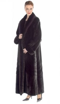 full length female mink coat-natural ranch mink coat