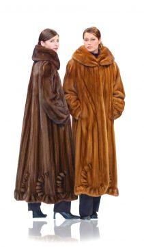 natural mink coat-scalloped-hemline-soft brown-long coat womens