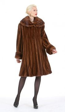 real mink fur jacket for women-designer mink coat-flowing flare