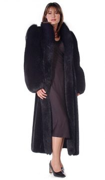 womens black mink coat-mink coat with fox sleeves