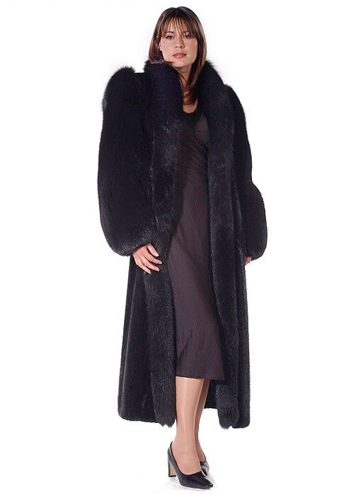 Mink Fur Coat – Black Fox Sleeve | Madison Avenue Mall Furs ...