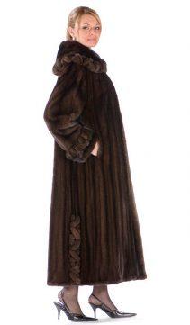 female mahogany mink coat-braided collar and cuff