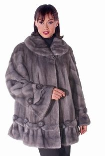 Blue iris mink fur jacket for women-rosettes