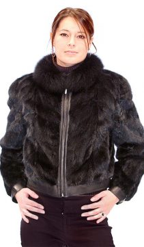 women's real fur mink jacket-zippered jacket
