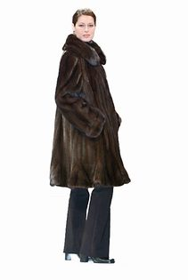 mink fur jacket real-flounced hemline