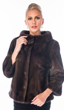 genuine mink jacket with mink fur-boat neck soft brown