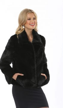 chevron strip style- natural mink fur jacket
