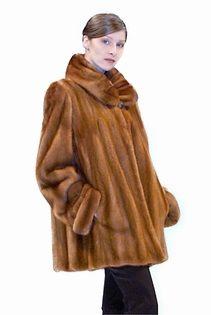 golden dyed portrait collar real mink fur jacket