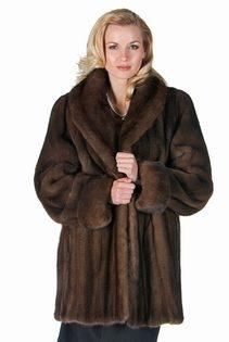 natural mink jacket coat-large shawl collar-soft brown