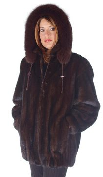 natural mink jacket with fox fur trim-mahogany mink-