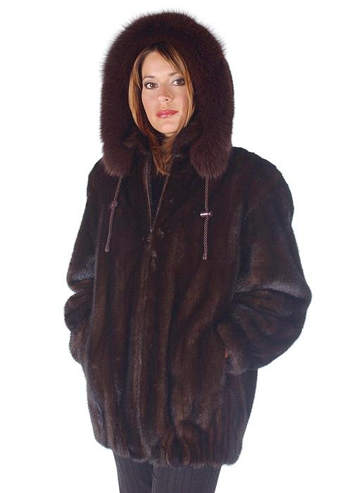 natural mink jacket with fox fur trim-mahogany mink-