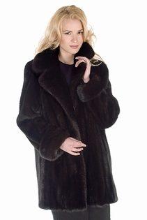 mink coat real-mahogany mink-notch collar