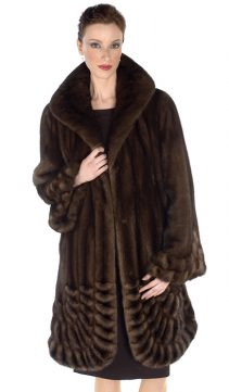 mahogany real mink fur jacket-pleated panorama