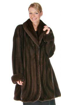real mahogany mink fur jacket-trumpet-hemline