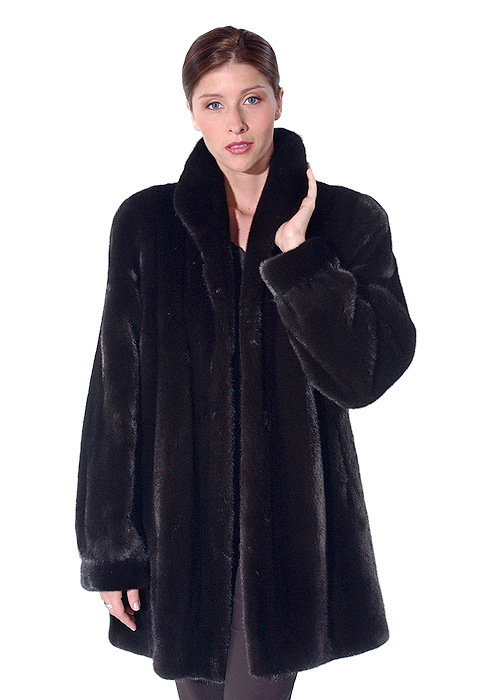 real mink jacket for women-ranch mink-classic wing collar