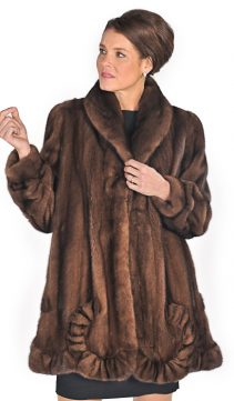 scalloped hemline mink fur jacket-soft brown coat