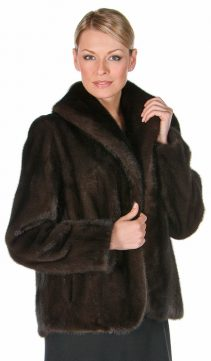 mahogany real mink fur jacket for women-shawl collar tulip hemline