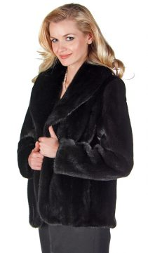 mink jacket genuine-shawl collar-tulip hemline-ranch mink