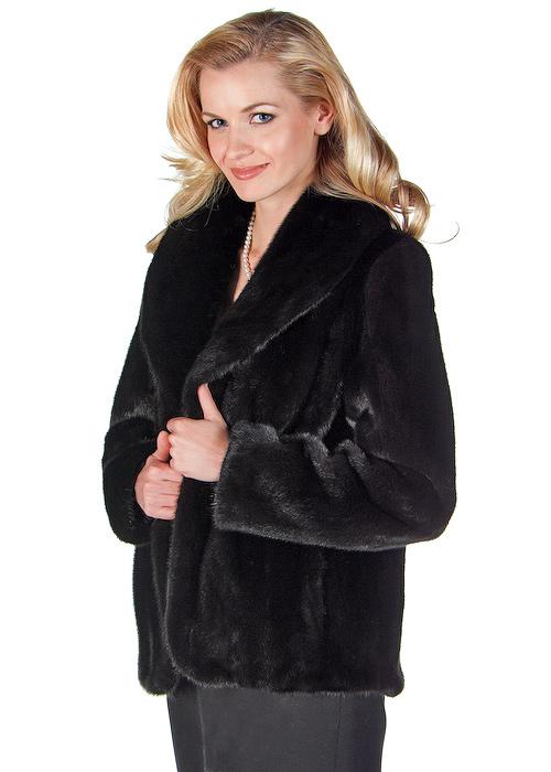 mink jacket genuine-shawl collar-tulip hemline-ranch mink