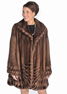 sculptured mink fur jacket soft brown-pleated panorama