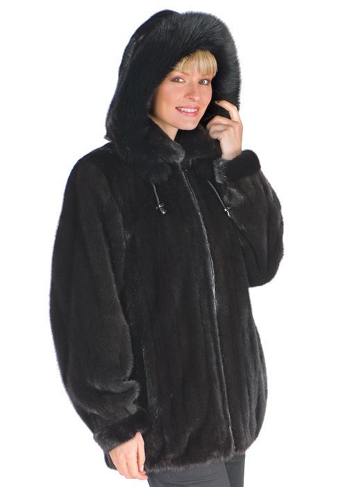 zippered ranch mink-men's mink jacket-women's mink fur jacket with fox trim