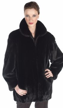 natural real mink fur jacket-zippered ranch mink jacket
