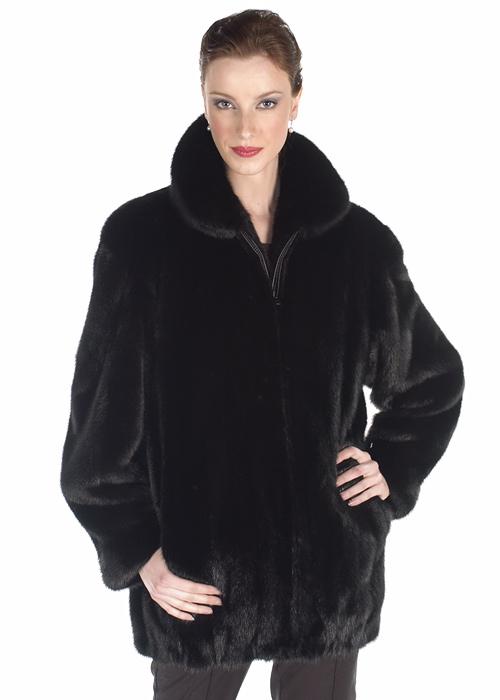 natural real mink fur jacket-zippered ranch mink jacket