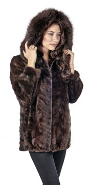 mahogany mink real fur jacket-genuine mink parka-zippered-sculptured