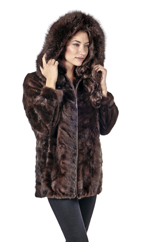 mahogany mink real fur jacket-genuine mink parka-zippered-sculptured