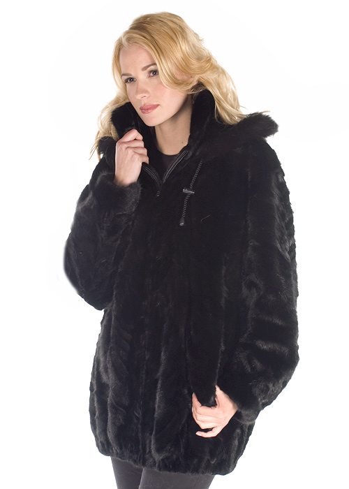 natural real mink jacket parka-sculptured mink-zippered jacket