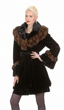 natural sable trimmed-women's real sheared mink jacket-ruffled jacket