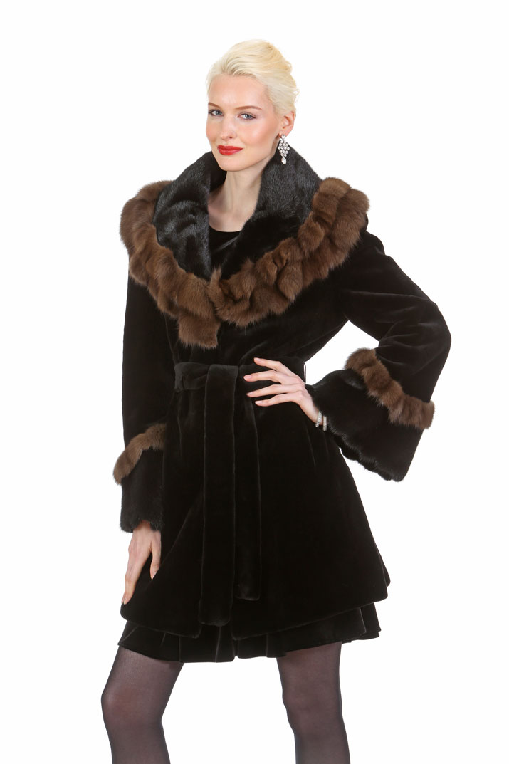 7d88dc24bcf08 natural sable trimmed-women s real sheared mink jacket-ruffled jacket