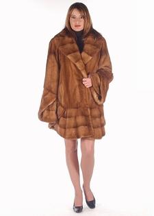 real mink jacket stroller-golden mink 3/4 jacket bell sleeve