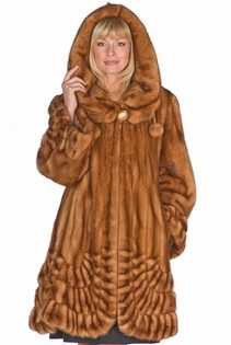 genuine mink fur jacket with hooded parka-golden mink-pleated panorama