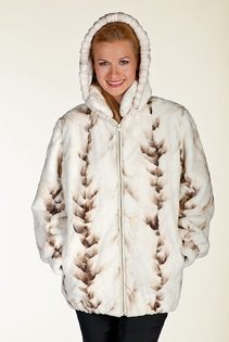 women's winter coat-mink fur jacket zippered-winter birch mink