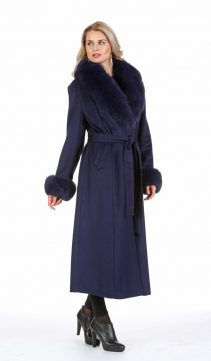 women's cashmere coat with fur collar-navy